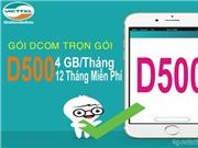 Đăng ký gói DCOM trọn gói D500 Viettel nhận 4GB / tháng