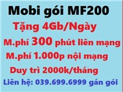 Sim Mobifone MF200. Miễn phí 1000 Phút Nội Mạng, 300 Phút Ngoại Mạng + 4GB/ngày