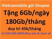 Sim Vietnamobile shoppe. 6GB/ngày