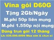 Vina gói D60G - Trọn gói 1 năm - Mua sim mới