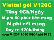 Viettel gói V120C. Cách đăng ký cho sim khách đang dùng