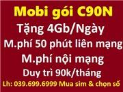 Mobifone gói C90N: Tặng 4Gb/ngày