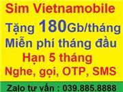 Sim Vietnamobile Tặng 180Gb/tháng