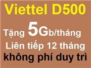 Viettel gói D500 - Trọn gói 12 tháng
