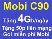 Mobifone gói C90 Tặng 4Gb/ngày miễn phí nội mạng+50p liên mạng