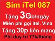 Sim itel 087 tặng 3Gb/ngày, miễn phí gọi vina, itel